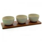 Набор мисок на бамбуковой подставке (3 предмета), бежевый